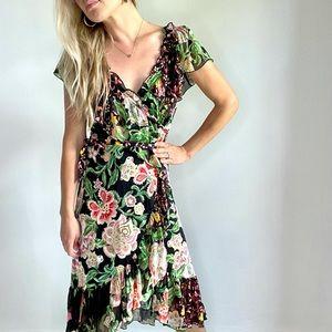 Hale Bob Black Green Pink Floral Wrap Dress New S